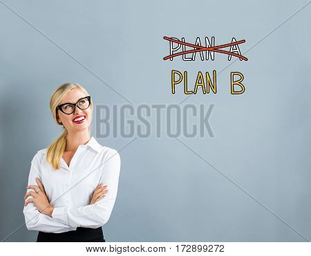 Plan B Text With Business Woman