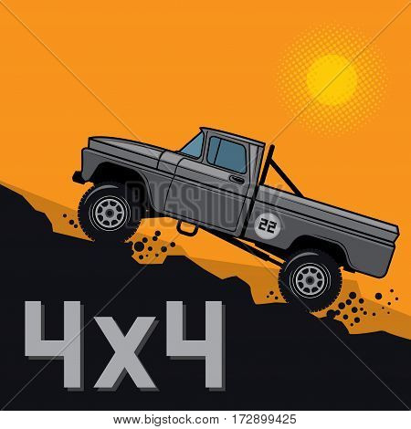 Classic off-road suv car background sign or symbol vector illustration