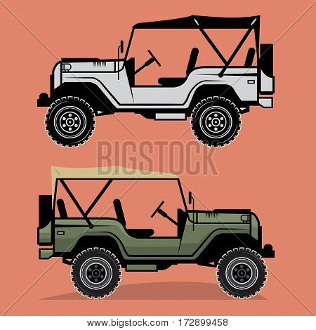 Classic off-road car on color background, vector illustration