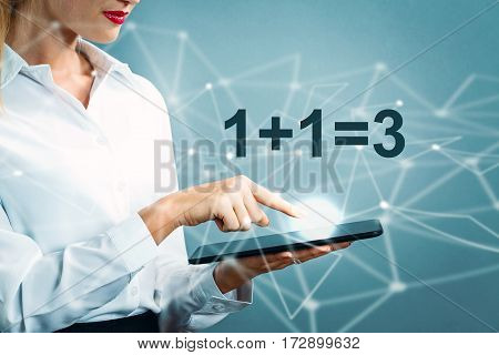 1 Plus 1 Equal 3 Text With Business Woman