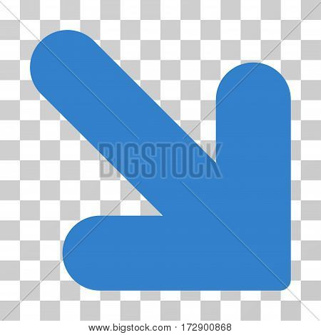 Arrow Down Right vector pictogram. Illustration style is flat iconic cobalt symbol on a transparent background.