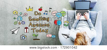 Do Something Awesome Today Text With Man
