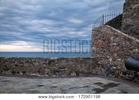 External view of the Castle of Camogli, along the shores of the Ligurian Sea (Northern Italy), wintertime. Color image.