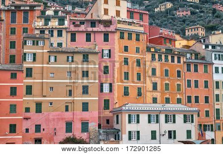 Detailed view of the typical pastel coloured houses of Camogli, along the shores of Ligurian Sea (Northern Italy). Color image.