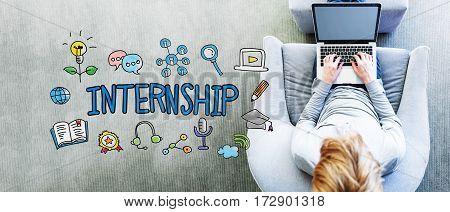 Internship Text With Man Using A Laptop