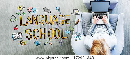 Language School Text With Man Using A Laptop