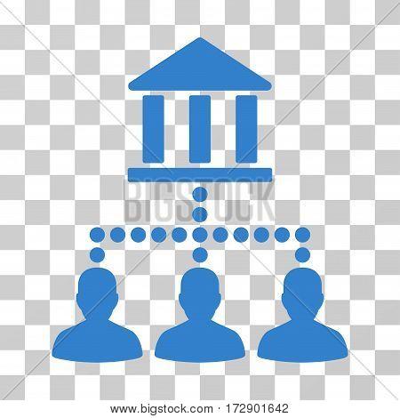 Bank Client Links vector pictogram. Illustration style is flat iconic cobalt symbol on a transparent background.