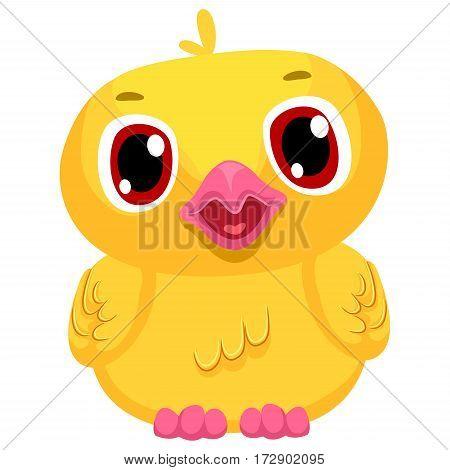 Vector Illustration of Yellow Small Cartoon Chick