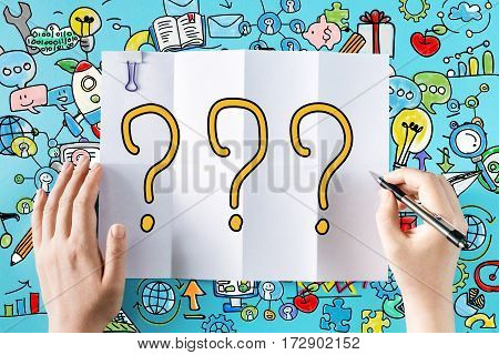 Question Mark Text With Hands
