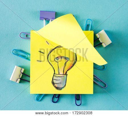 Light Bulb On A Sticky Note