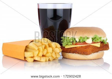 Fish Burger Fishburger Hamburger And Fries Menu Meal Combo Cola Drink Isolated