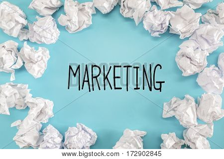 Marketing Text With Crumpled Paper Balls