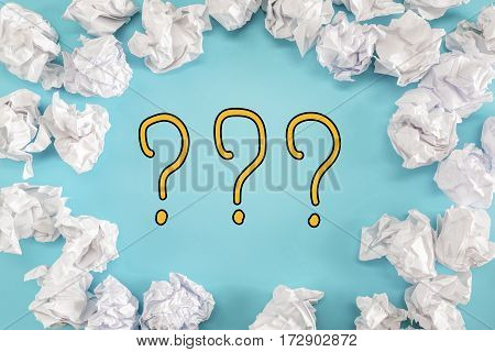 Question Mark Text With Crumpled Paper Balls