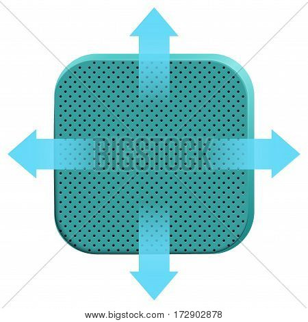 Icon of soft porous foam material with air arrows. Technical Demonstration of breathable material properties. Vector Illustration isolated on white background