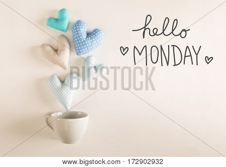 Hello Monday Message With Blue Heart Cushions