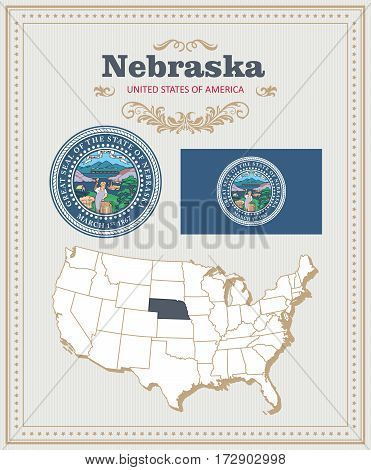 High detailed vector set with flag, coat of arms, map of Nebraska. American poster. Greeting card from United States of America. Colorful design