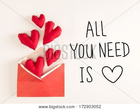 All You Need Is Love  Message With Red Heart Cushions