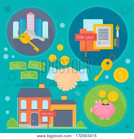 Vector Real estate design concept set with sale and rental market apartment search improvements flat icons infographics design, web elements, poster banners. Vector illustration