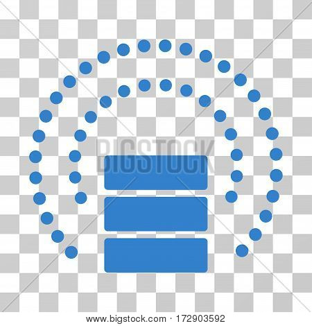 Database Sphere Shield vector icon. Illustration style is flat iconic cobalt symbol on a transparent background.