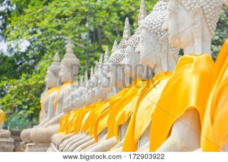 The heritage of Buddha statue stone at Ayuthaya Thailand