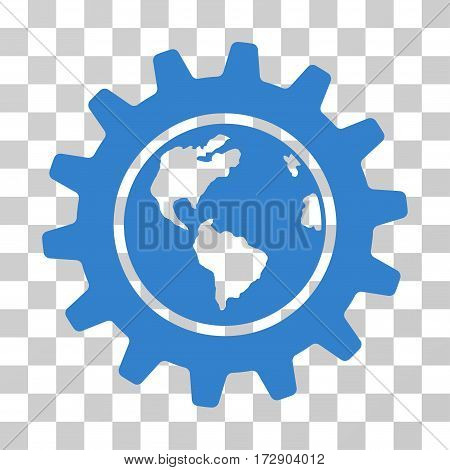 Earth Engineering vector pictogram. Illustration style is flat iconic cobalt symbol on a transparent background.