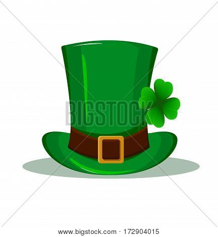 Patrick hat. Green hat with four leaf clover isolated on white background. Happy St. Patrick's day. Usable as icon banner design element. Vector illustration.