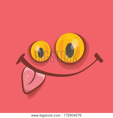 vector pink hand drawn funny monster face. cartoon monster smiling face for kids background or greeting cards.