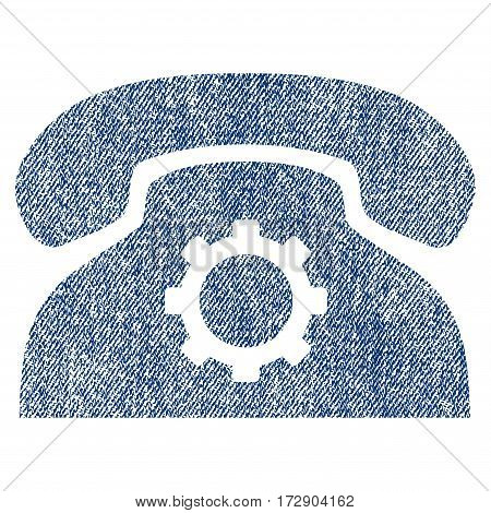 Phone Settings vector textured icon for overlay watermark stamps. Blue jeans fabric vectorized texture. Symbol with dirty design. Blue ink rubber seal stamp with fiber textile structure.
