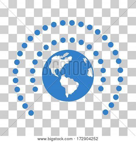 Earth Sphere Shield vector pictograph. Illustration style is flat iconic cobalt symbol on a transparent background.