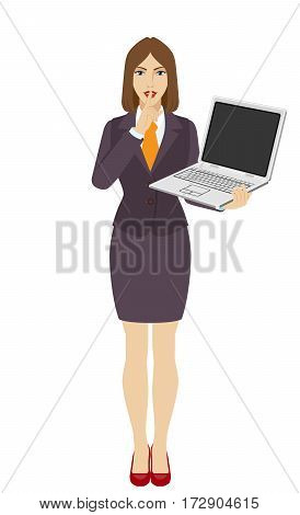 Hush hush. Businesswoman holding a laptop notebook and making hush sign. Full length portrait of businesswoman in a flat style. Vector illustration.