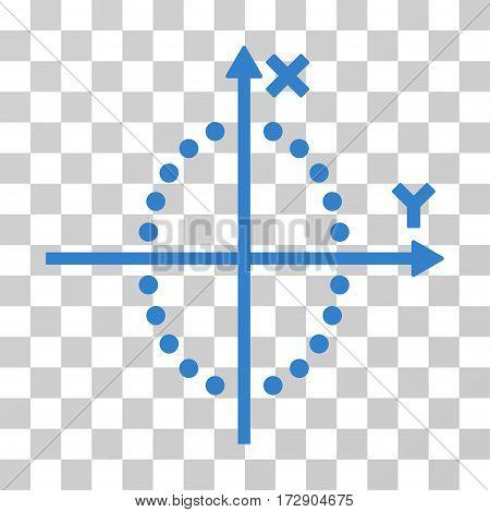Ellipse Plot vector pictogram. Illustration style is flat iconic cobalt symbol on a transparent background.