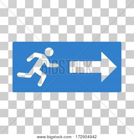 Emergency Exit vector pictograph. Illustration style is flat iconic cobalt symbol on a transparent background.