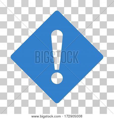 Error Rhombus vector pictogram. Illustration style is flat iconic cobalt symbol on a transparent background.