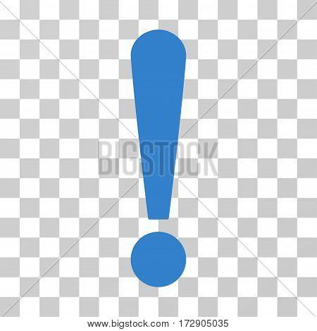 Exclamation Sign vector icon. Illustration style is flat iconic cobalt symbol on a transparent background.
