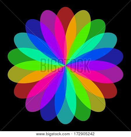 Abstract mandala in rainbow colors Flower isolated on black background Colorful bloom Multicolor esoteric petal mandala