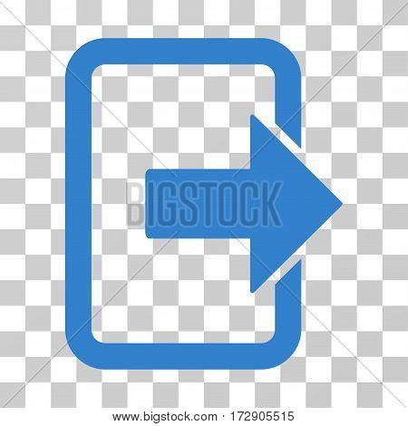 Exit Door vector icon. Illustration style is flat iconic cobalt symbol on a transparent background.