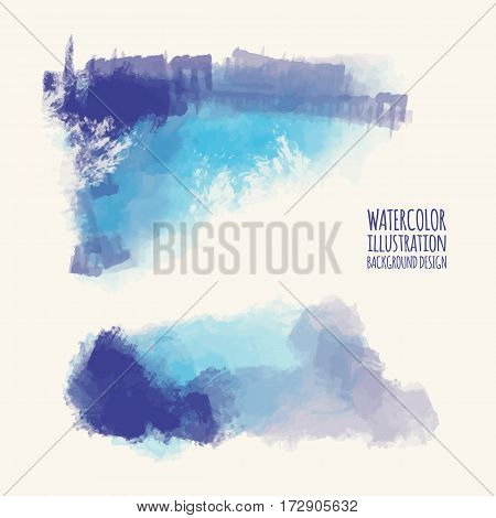Vector set of blue watercolor brush strokes. Grunge isolated elements. Smoke brushes for your design. Freehand. Ink splash. Acrylic stamp. Vector illustration