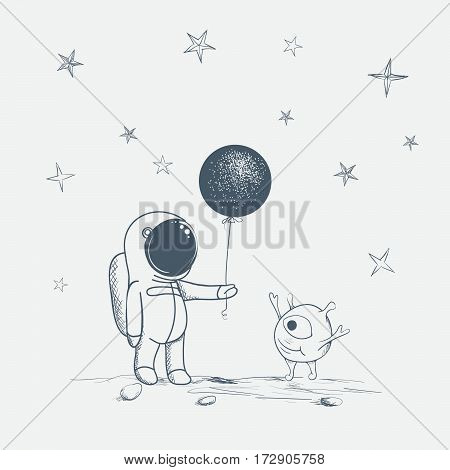 astronaut gives a balloon to alien.Cute humanoid is happy.Hand drawn vector illustration