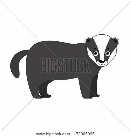 Funny badger, illustration for children. Design element for baby shower card, scrapbooking, invitation, children goods and childish accessories. Isolated on white background. Vector illustration.