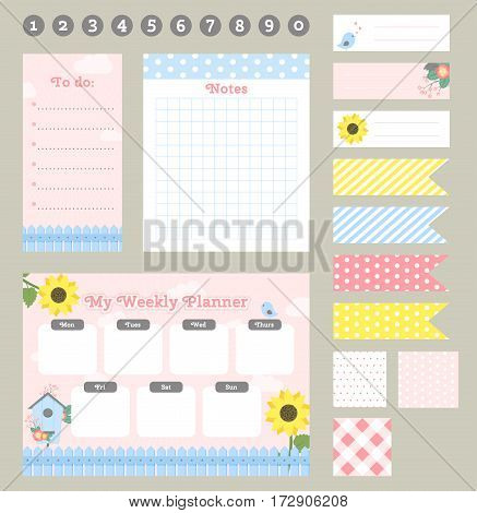 Weekly planner template. Organizer and schedule with notes and to do list. Template for notebooks scrapbooking wrapping invitation cards diary. Set of graphic elements for your planner. Vector illustration