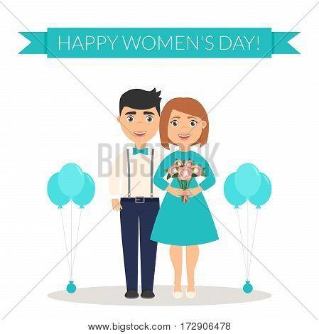Decoration on March, 8. Cute characters. Flat design vector illustration. Male congratulates his female a Happy Women's Day and presents a bouquet of flowers.