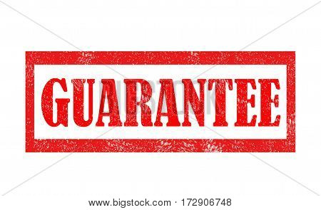 Grunge red rubber stamp with text Guarantee. Guarantee grunge rubber stamp on white background.