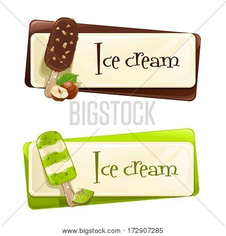 Vector set of banners with ice cream decorated with kiwi, nuts and chocolate