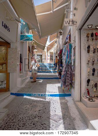Shopping Street In Santorini