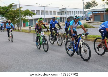 YALA THAILAND - FEBRUARY 20 2017: Cyclists from different teams competing for a Ride Bicycle for Health Exercise. It is a free open and un-ticketed event.
