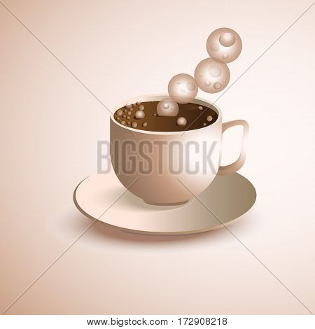 Cup of coffee realistic vector. Vector illustration.