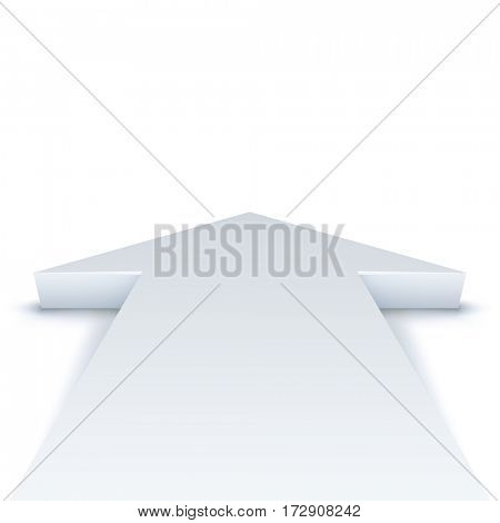 Abstract white arrow pointing straight ahead business background with copy space. Raster copy.
