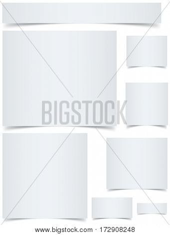 Standard sized blank web banners with curled edges effect isolated on white background.Raster copy.
