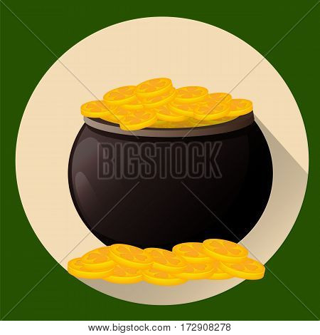 Pot full of golden coins for Saint Patrick's day. Leprechaun gold. Vector illustration flat style. Usable for greeting card icon poster etc.