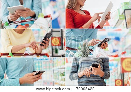 People shopping at the supermarket they are checking products and offers online using tablets and smartphones pictures collage